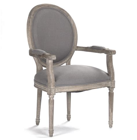 gray armchair madeleine french country oval grey linen dining arm chair