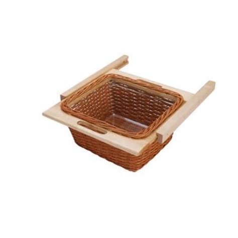 rev a shelf woven basket with rails in standard size kitchensource com rev a shelf 18 in rattan basket with euro rails and clear