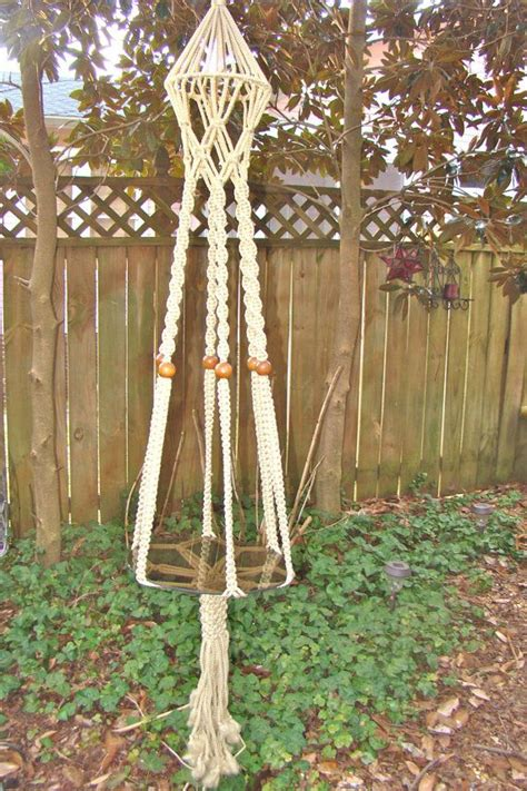 1970s Macrame - vintage macrame hanging table planter 1970s boho