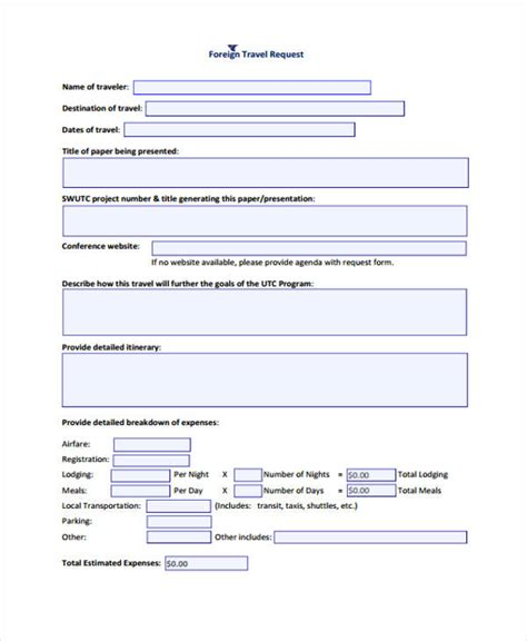 travel request form template word travel request forms travel request form in word format