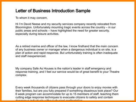Introduction Letter By Email 7 business introduction email sle to client