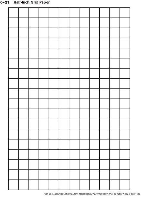 printable graph paper for math c 21 half inch grid paper homework helps pinterest