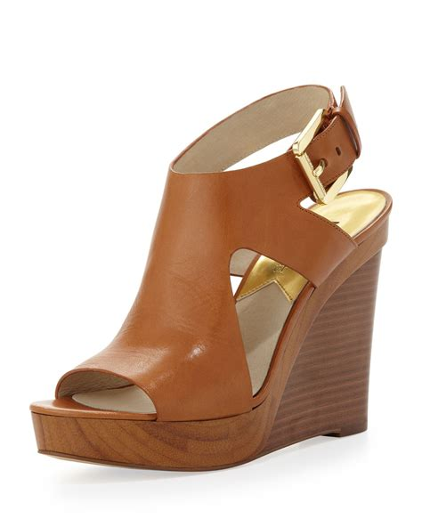 michael kors michael josephine leather wedge sandal in