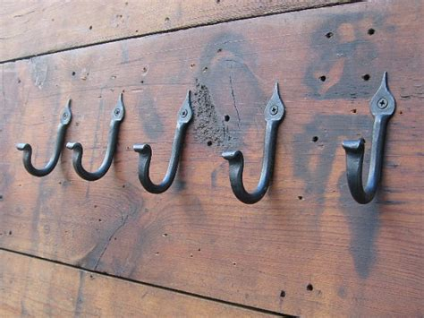 hand coat hooks hand forged coat hooks set of five