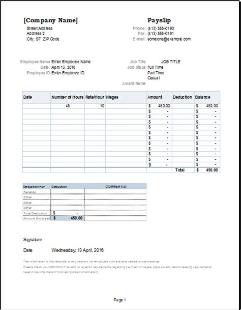 salary template editable salary slip template for ms excel document hub