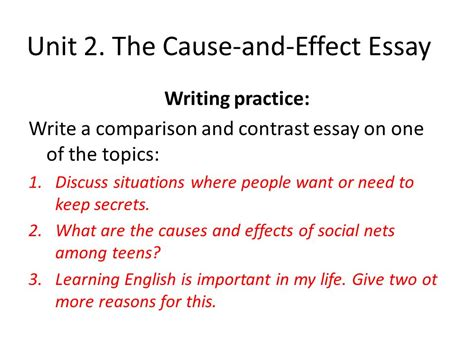 Cause And Effect Essay Topics by Advanced Writing Ppt