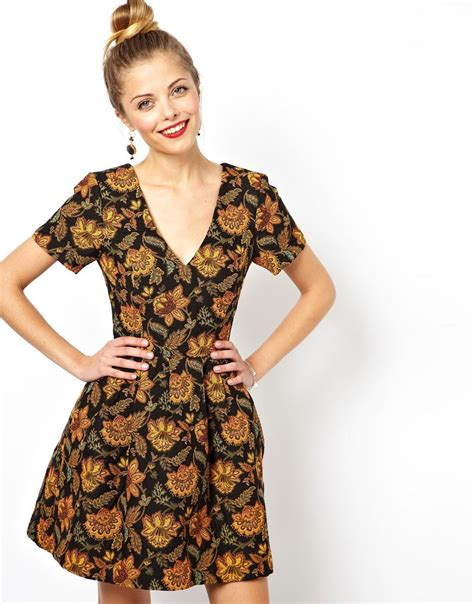 A Printed Neck Dress From Asos by Asos Skater Dress With V Neck In Floral Jacquard Lyst