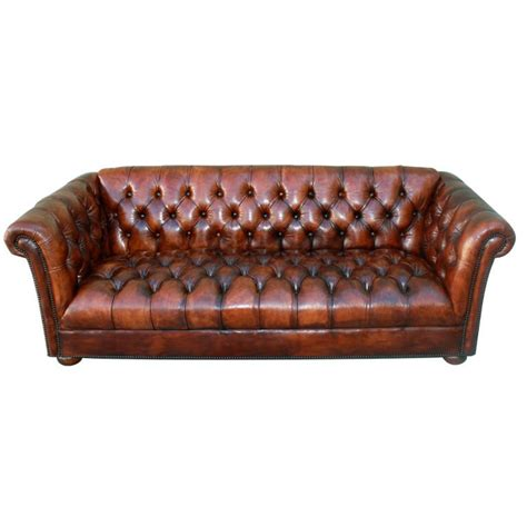 Tufted Sofa Leather Vintage Leather Tufted Chesterfield Style Sofa C 1930 S At 1stdibs