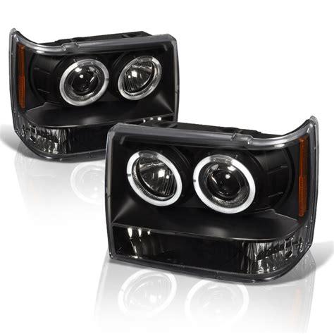 jeep black headlights 1993 1998 jeep grand cherokee dual halo projector