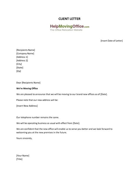 address in business letter format change of business address letter the letter sle