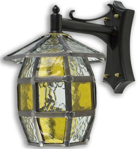 Handmade Outdoor Lighting - barrel handmade honey leaded glass outdoor wall lantern