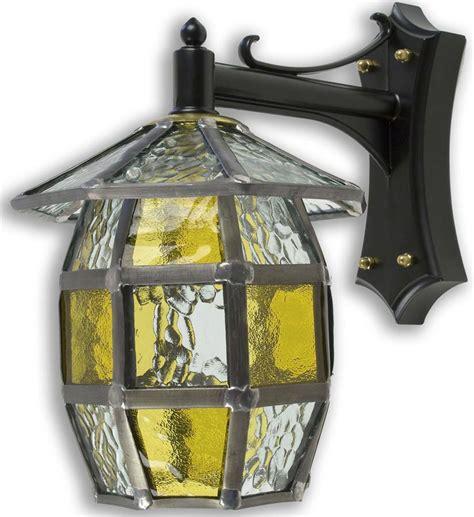 Handmade Outdoor Lighting - barrel handmade honey leaded glass outdoor wall lantern