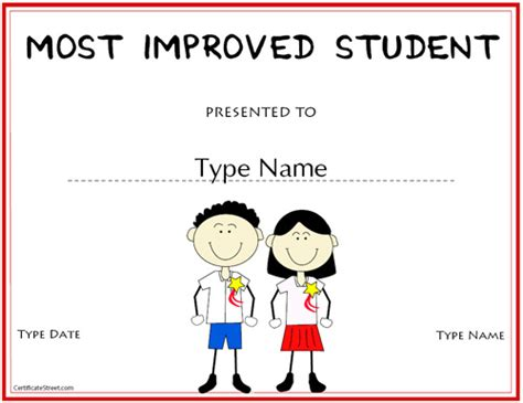 most improved certificate template education certificates most improved student award