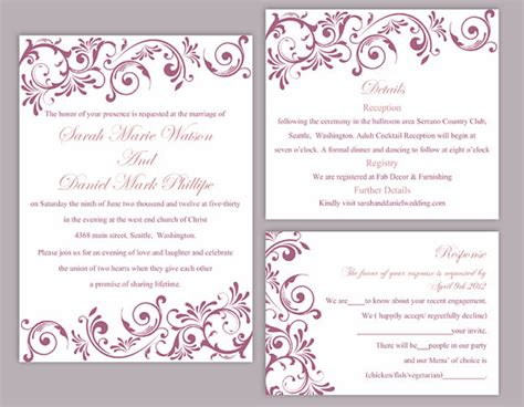 Diy Wedding Invitation Template Orderecigsjuice Info Editable Wedding Invitation Templates Free