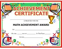 free printable math achievement awards certificates templates