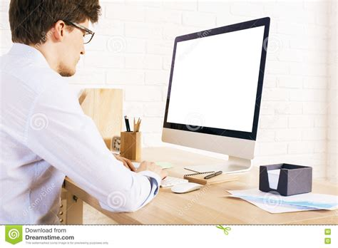 Back From Sitting At Desk by Using White Computer Stock Photo Image 73194395