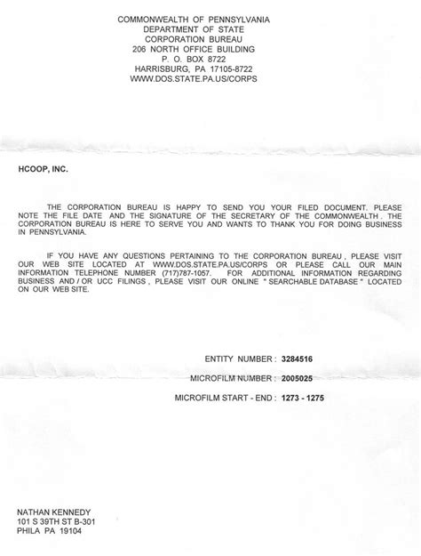 cover letter article articles of incorporation