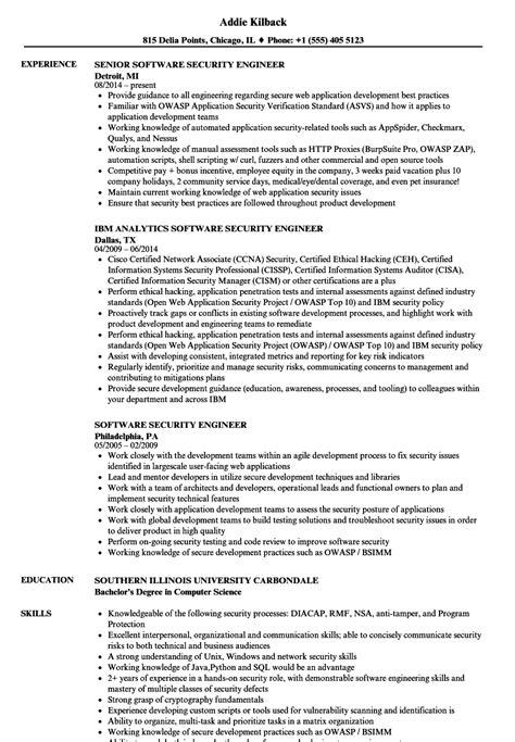 security engineer resume exle software security engineer resume sles velvet
