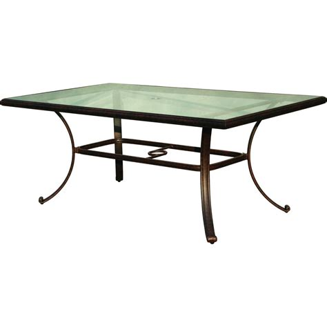 Darlee Classic 72 X 42 Inch Cast Aluminum Patio Dining Glass Top Patio Dining Table