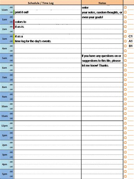 24 hour daily planner template 24 hour daily planner with notes and tasks list office
