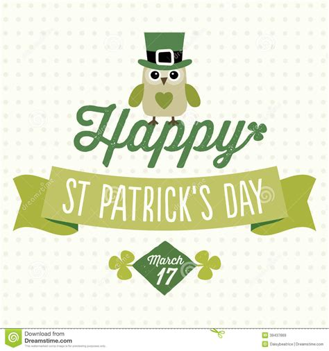 st s day photo card template happy st patricks day card with owl stock vector