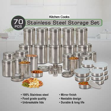 Kitchen Set 375 buy kitchen cooks 70 pcs stainless steel storage set at best price in india on naaptol