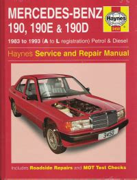 1983 1993 mercedes 190 190e 190d gas diesel haynes repair manual