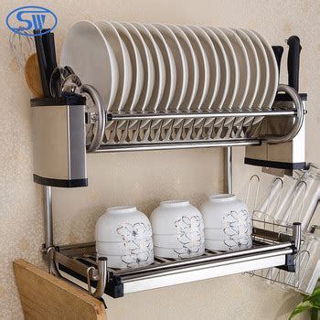 Hiasan Dinding Untuk Dapur Kitchen Set Wall Decor wdj440 460 guangzhou 2 tiers kitchen wall hanging stainless steel 201 304 dish rack buy 2 tier