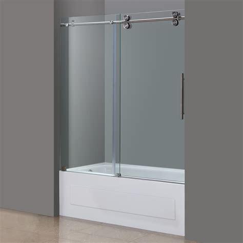 Shower Tub Door Langham Frameless Sliding Tub Height Door In Chrome Or Stainless Platinum Bath