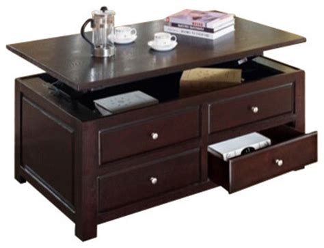 malden espresso finish wood lift top coffee table with