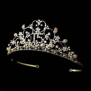 sparkling sweet 15 quinceaera rhinestone tiara with a center 15 emblem in gold wholesale sweet