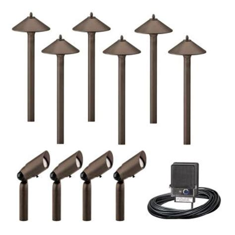 Malibu Outdoor Lighting Kits Malibu 10 Light Outdoor Aged Brass Pro Style Light Kit 8308 9903 10 The Home Depot