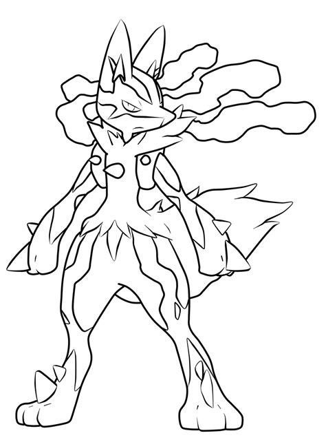 pokemon mega lucario coloring pages pictures