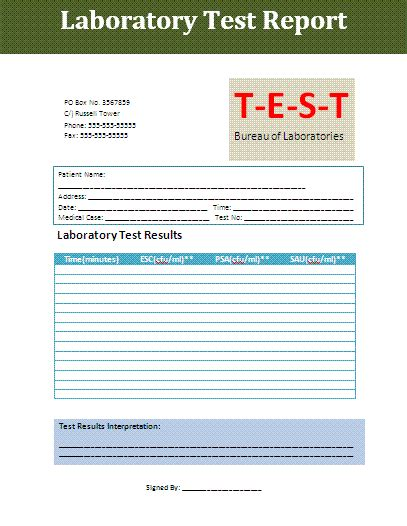 weekly test report template test report template free business templates