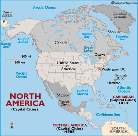 america map with countries maps of united states and capitals labeled