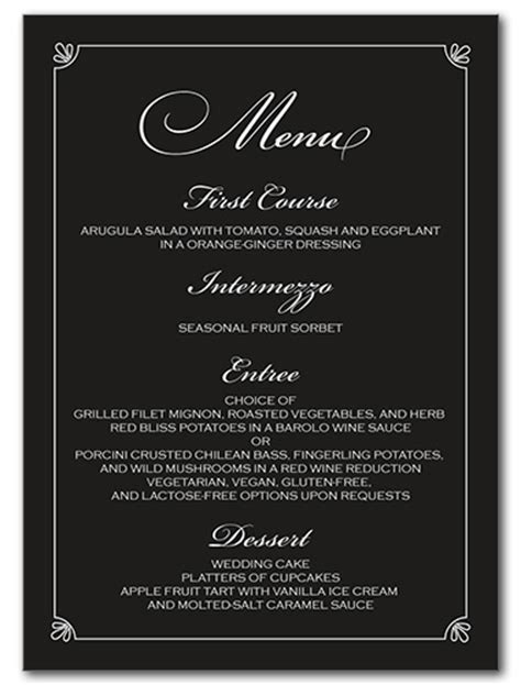 formal dinner menu ideas wedding menus