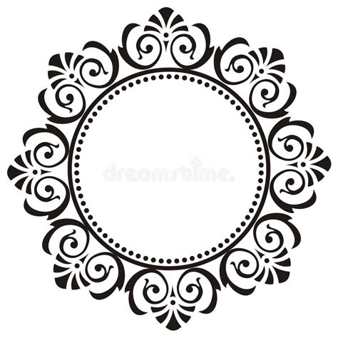 round floral designs round frame with floral ornament stock vector