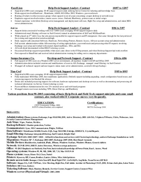 It Help Desk Resume by Helpdesk Support Resume Technicalterms X Fc2
