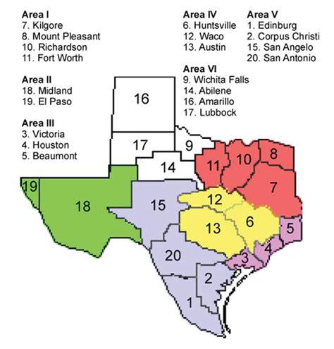 texas school regions map tasp area map