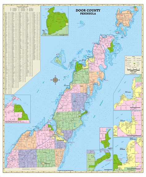 Door County by Themapstore Door County Wisconsin Wall Map