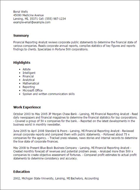 financial analyst report sle sle resume of financial reporting analyst 28 images