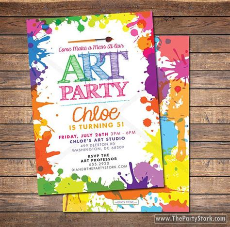free printable art party invitations art paint party invitations printable birthday by