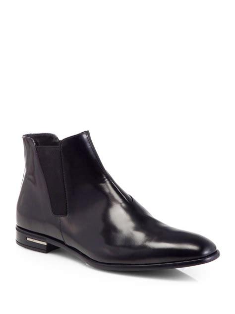 prada chelsea boots mens prada spazzolato chelsea boots in black for lyst