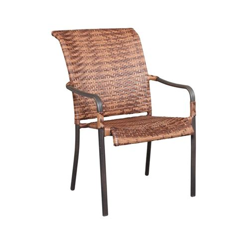 Hton Bay Manila Bay Woven Patio Stack Chair 164 014 Chr Patio Stack Chairs