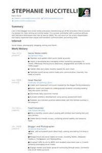 social media intern resume sles visualcv resume