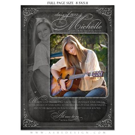 yearbook ad templates for word chalkboard senior girl yearbook templates for