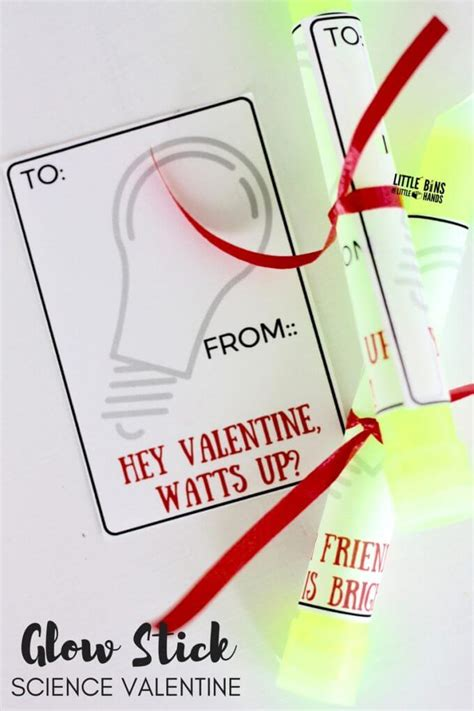 science valentines printable glow stick science cards for s day