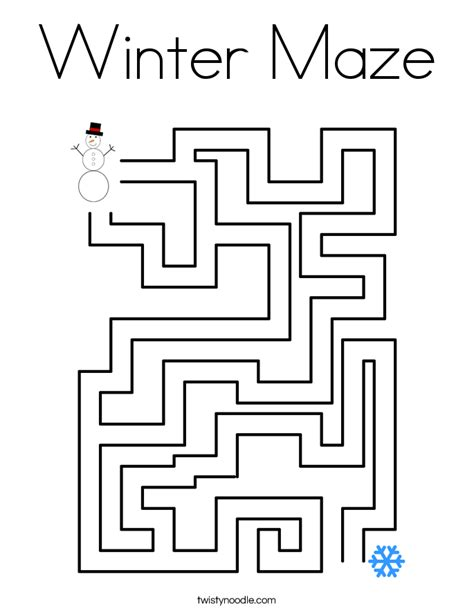 printable winter maze winter maze printable pages coloring pages