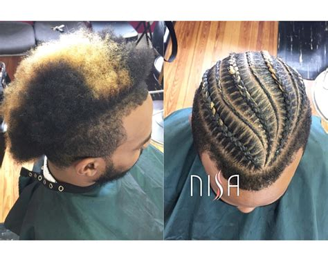 men bun hairstyle with braids for black men and faded on the sides dope cornrows via nisaraye http community
