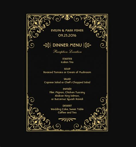 30 Dinner Menu Templates Free Sle Exle Format Download Free Premium Templates Menu Card Template